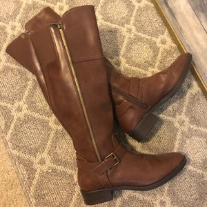 Brown full zip up boots from Target